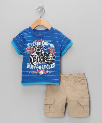 Blue Stripe Motorcycle Tee & Khaki Cargo Shorts - Infant