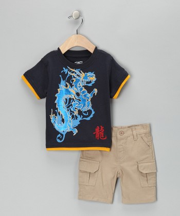 Blue Dragon Layered Tee & Cargo Shorts - Toddler