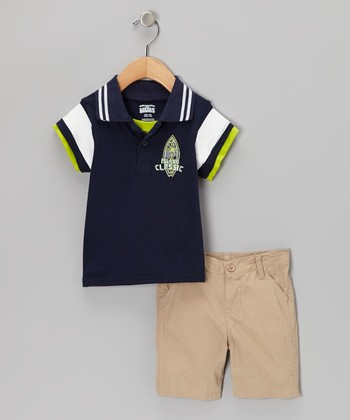Navy 'Island Classic' Polo & Khaki Shorts - Infant, Toddler & Boys