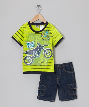 Green 'Moto Tour' Tee & Denim Cargo Shorts - Toddler