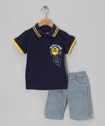 Navy Polo & Light Blue Shorts - Infant & Toddler