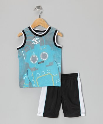 Blue Robot Tank & Black Shorts - Infant & Toddler
