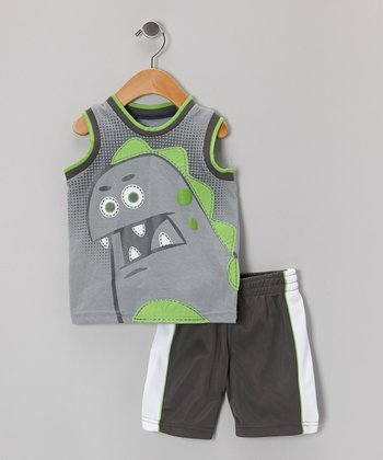 Gray Dino Tank & Black Shorts - Infant & Toddler