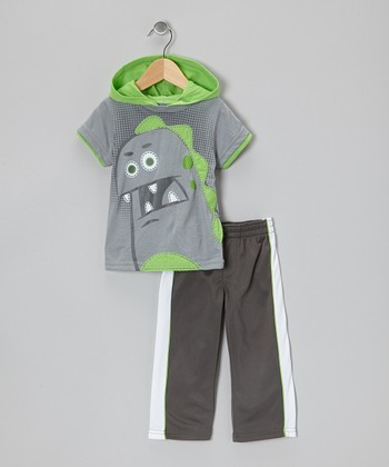 Gray Dino Layered Tee & Track Pants - Infant & Toddler
