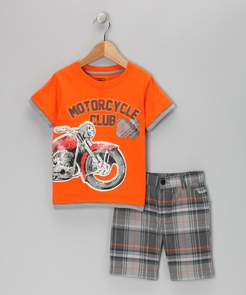 Orange 'Motorcycle Club' Tee & Shorts - Toddler