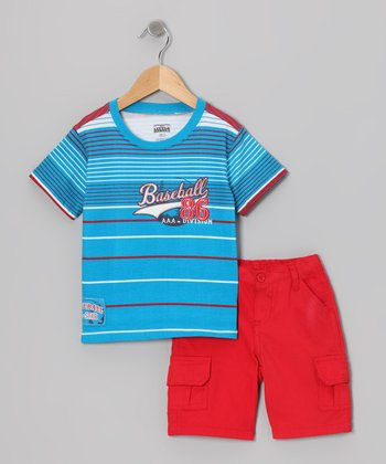 Blue Stripe 'Basketball' Tee & Cargo Shorts - Toddler