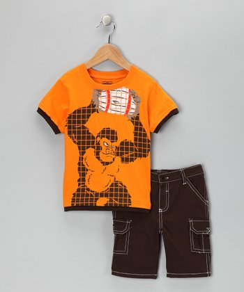 Little Rebels Brown Gorilla Layered Tee & Cargo Shorts - Infant & Toddler