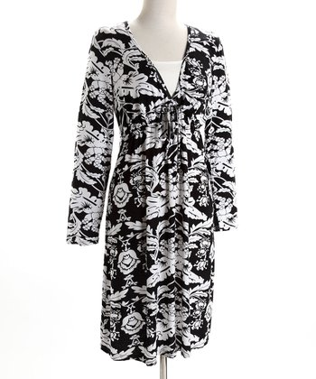 Expressiva - Black & White Print Nursing Dress