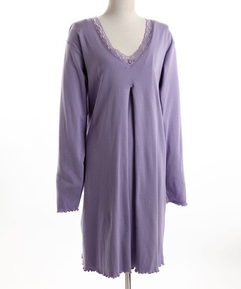 Lavender Lace-Trim Nursing Nightgown