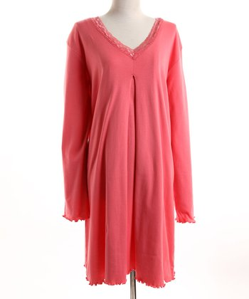Pink Lace-Trim Nursing Nightgown