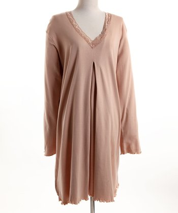 Expressiva - Rose Lace-Trim Nursing Nightgown