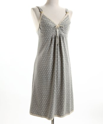 Expressiva - Grey Polka Dot Drop-Cup Nursing Nightgown