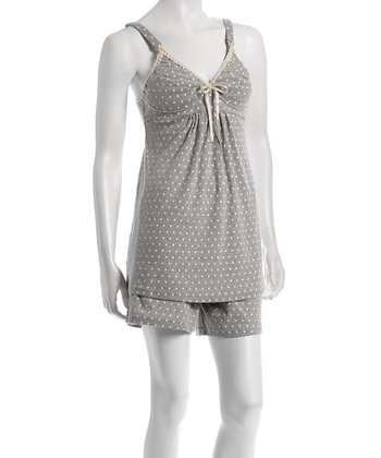 Gray Polka Dot Drop-Cup Nursing Tank & Shorts