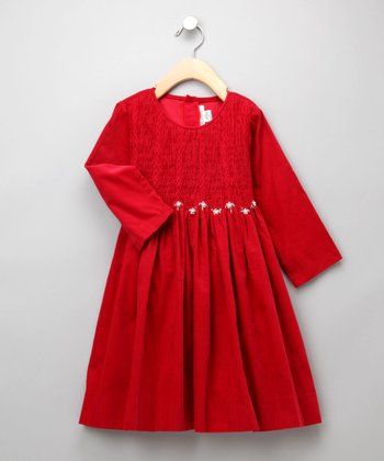 Red Smocked Corduroy Dress - Toddler & Girls