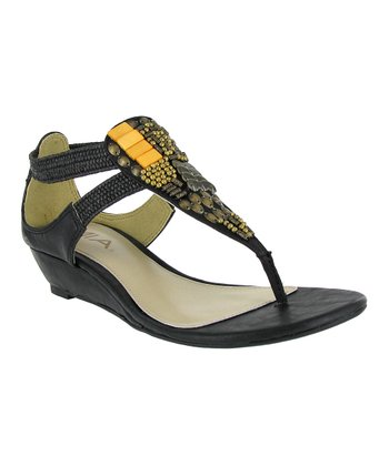 Black Solar Beaded Sandal