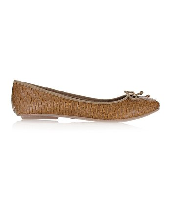 Tan Brandy Basketweave Flat