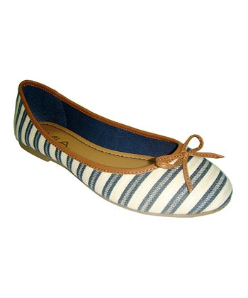 Navy Stripe Blondell Flat
