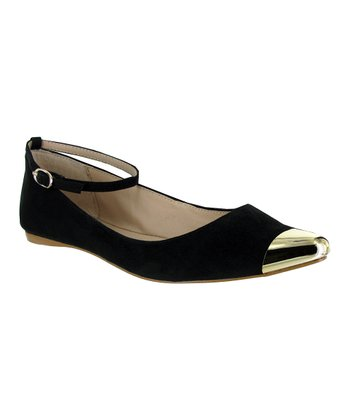 Black Ashley Ankle-Strap Flat