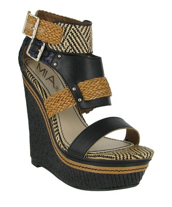 Black & Navy Weave Frida Wedge