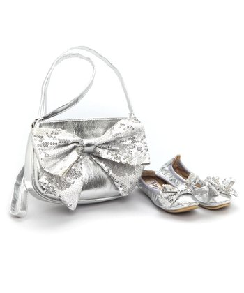 Ragg Shoes - Silver Mitzi Ballet Slipper & Purse Set