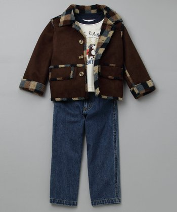 Brown Suede Jacket Set - Toddler