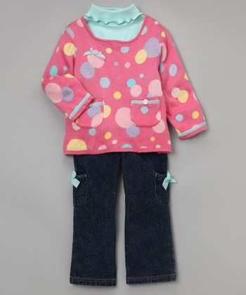 Baby Togs Pink Intarsia Sweater Set - Girls