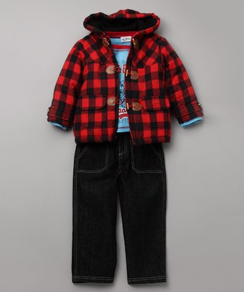 Red Buffalo Plaid Hooded Jacket Set - Toddler