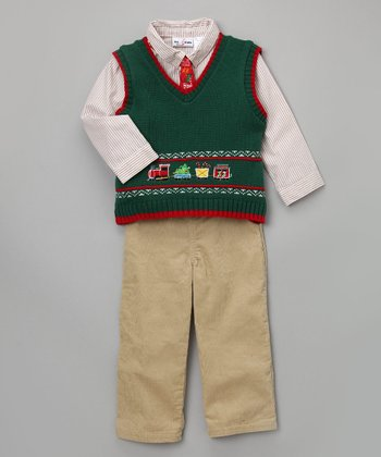 Baby Togs & BT Kids - Green Sweater Vest Set 3T