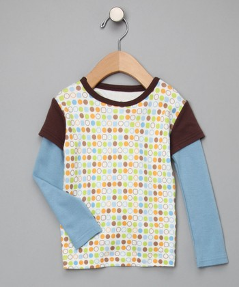 Blue Organic Polka Dot Layered Tee