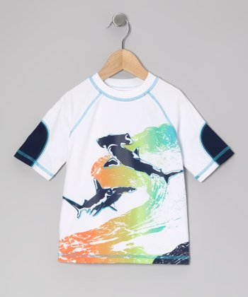 White Ocean Shark Rashguard - Infant, Toddler & Boys