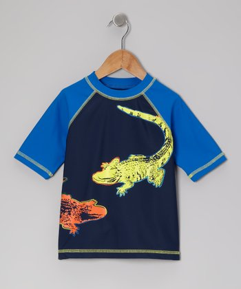 Navy See You Later Alligator Rashguard - Infant, Toddler & Boys