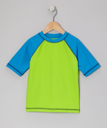 Far Out Green Color Block Rashguard - Infant & Boys