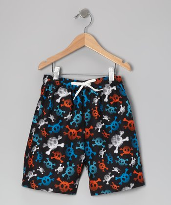 Black Skull Swim Trunks - Toddler & Boys
