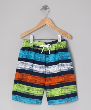 Navy Brushed Stripe Swim Trunks - Infant, Toddler & Boys