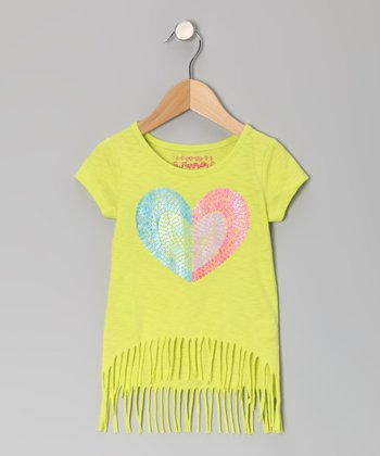 Time Out Lime Heart Fringe Top - Toddler