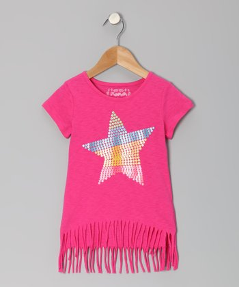 Pony Pink Star Fringe Top - Toddler