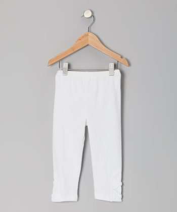 White Bowtastic Capri Pants - Toddler & Girls