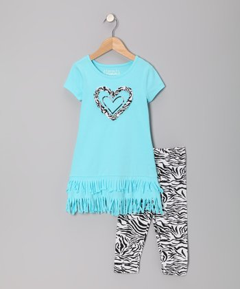 Aqua Spray Fringe Dress & Zebra Leggings - Toddler