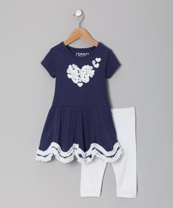 Admiral Navy Heart Dress & Leggings  - Girls