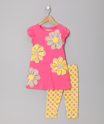 Calypso Coral Painted Daisy Dress & Leggings - Toddler & Girls