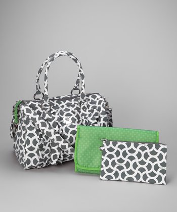 Gray & Green Signature Collection Ruffle Diaper Bag