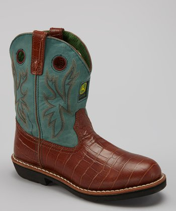Green & Brown Crocodile Cowboy Boot - Kids