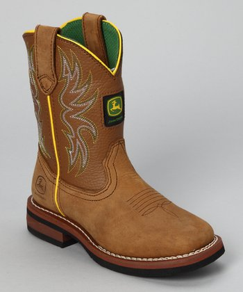 Tan Square-Toe Cowboy Boot
