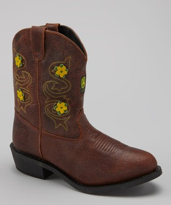 Brown Floral Wellington Cowboy Boot - Girls