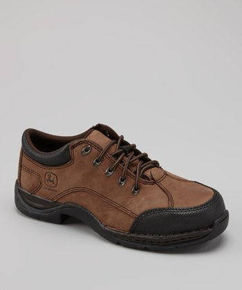 Brown Nubuck Steel-Toe Shoe - Women