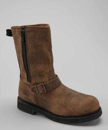 Brown Distressed Steel-Toe Boot - Men