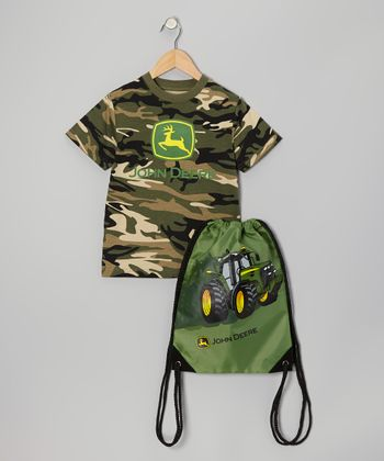 Green 'John Deere' Camouflage Tee & Bag - Boys