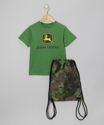 Green 'John Deere' Tee & Bag - Boys