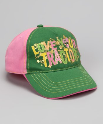 Green & Pink 'Love Your Tractor' Baseball Cap
