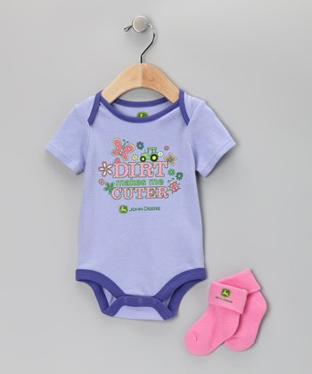 Purple 'Dirt' Bodysuit & Socks - Infant